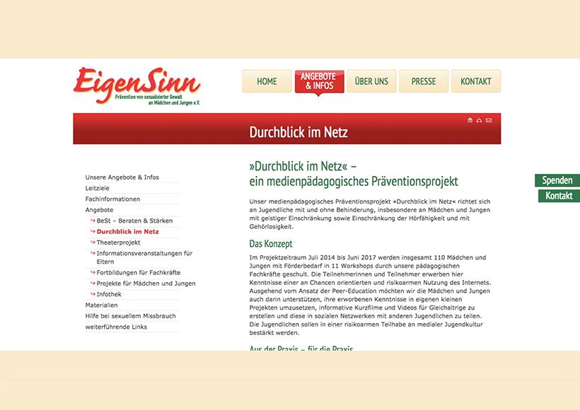 Bildauschnitt von der Startseite Durchblick im Netz – pädagogischer Workshop