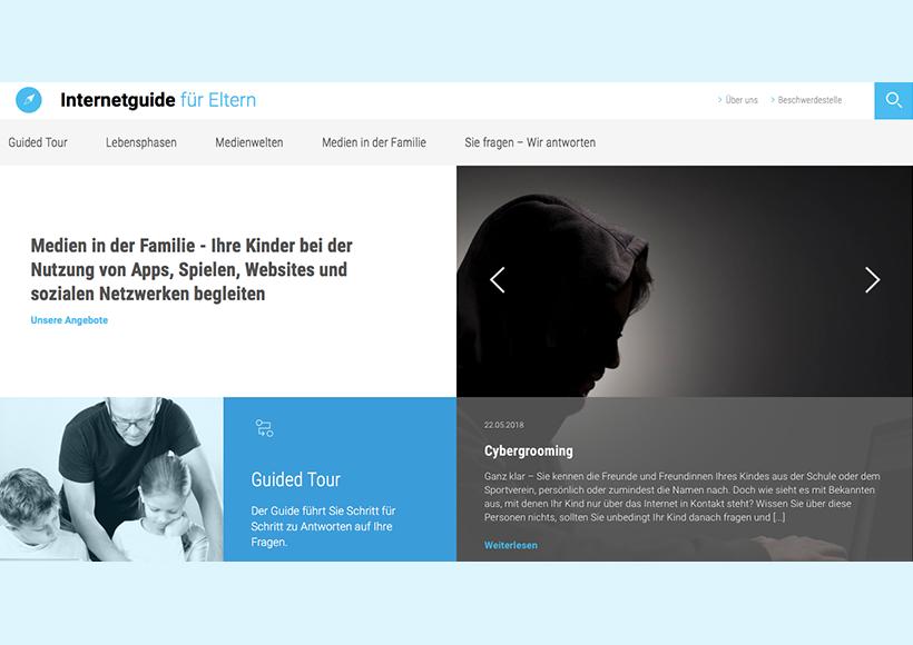 Bildauschnitt von der Startseite Internetguide für Eltern: Medien in der Familie