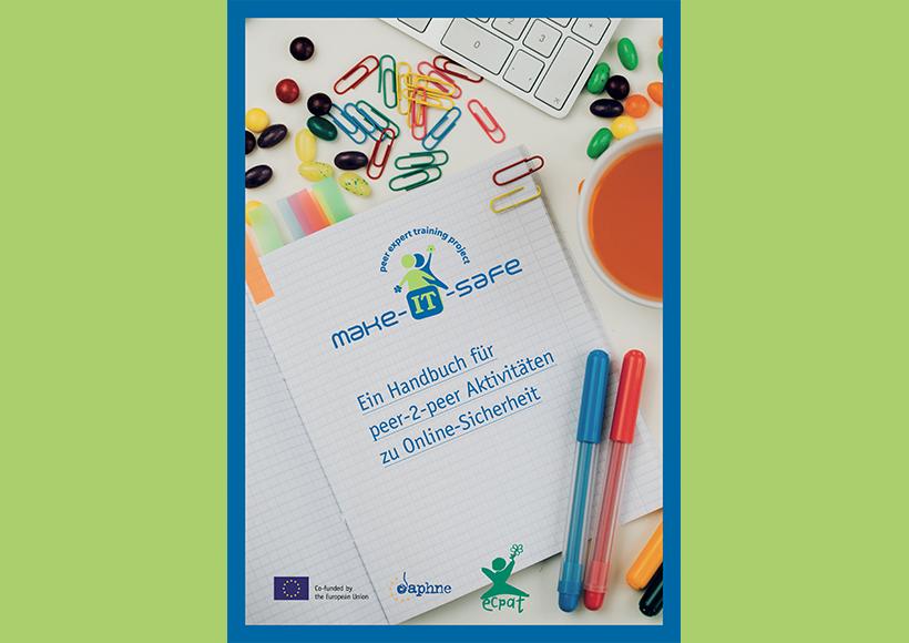 Bildauschnitt von der Startseite Make it safe – Ein Coaching-Handbuch für peer-2-peer Projekte mit Jugendlichen zu Online-Sicherheit