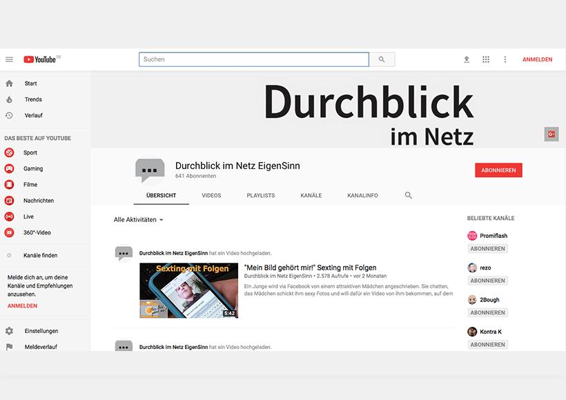 """Bildauschnitt von der Startseite YouTube-Kanal """"Durchblick im Netz"""""""
