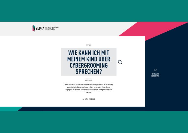 Bildauschnitt von der Startseite FragZebra – Wie kann ich mit meinem Kind über Cybermobbing sprechen?