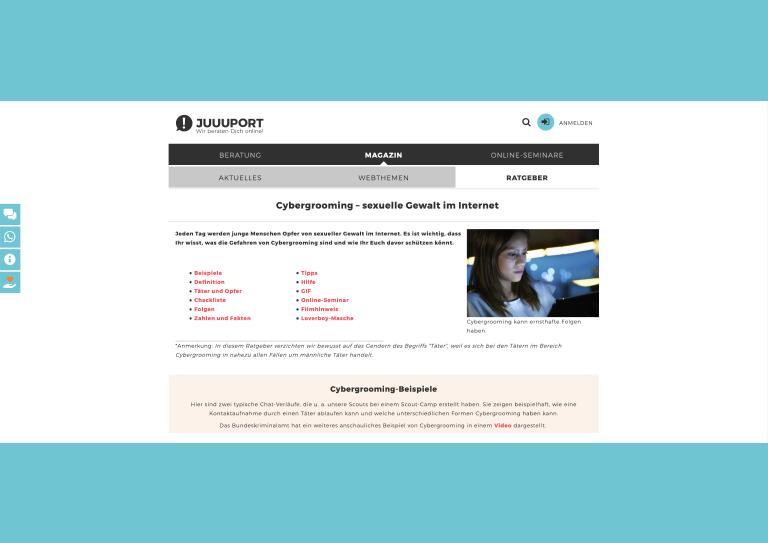 Bildauschnitt von der Startseite Online Seminare für Schulklassen: Cybergrooming – sexuelle Gewalt im Internet