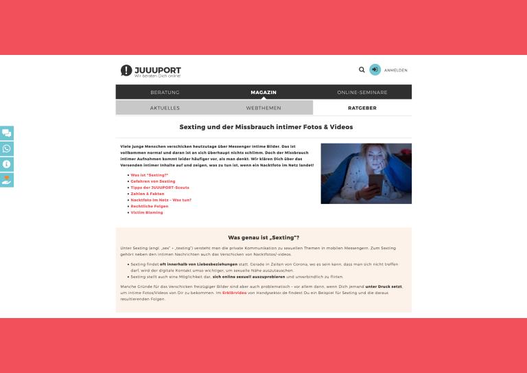 Bildauschnitt von der Startseite Online Seminare für Schulklassen: Sexting und der Missbrauch intimer Fotos & Videos