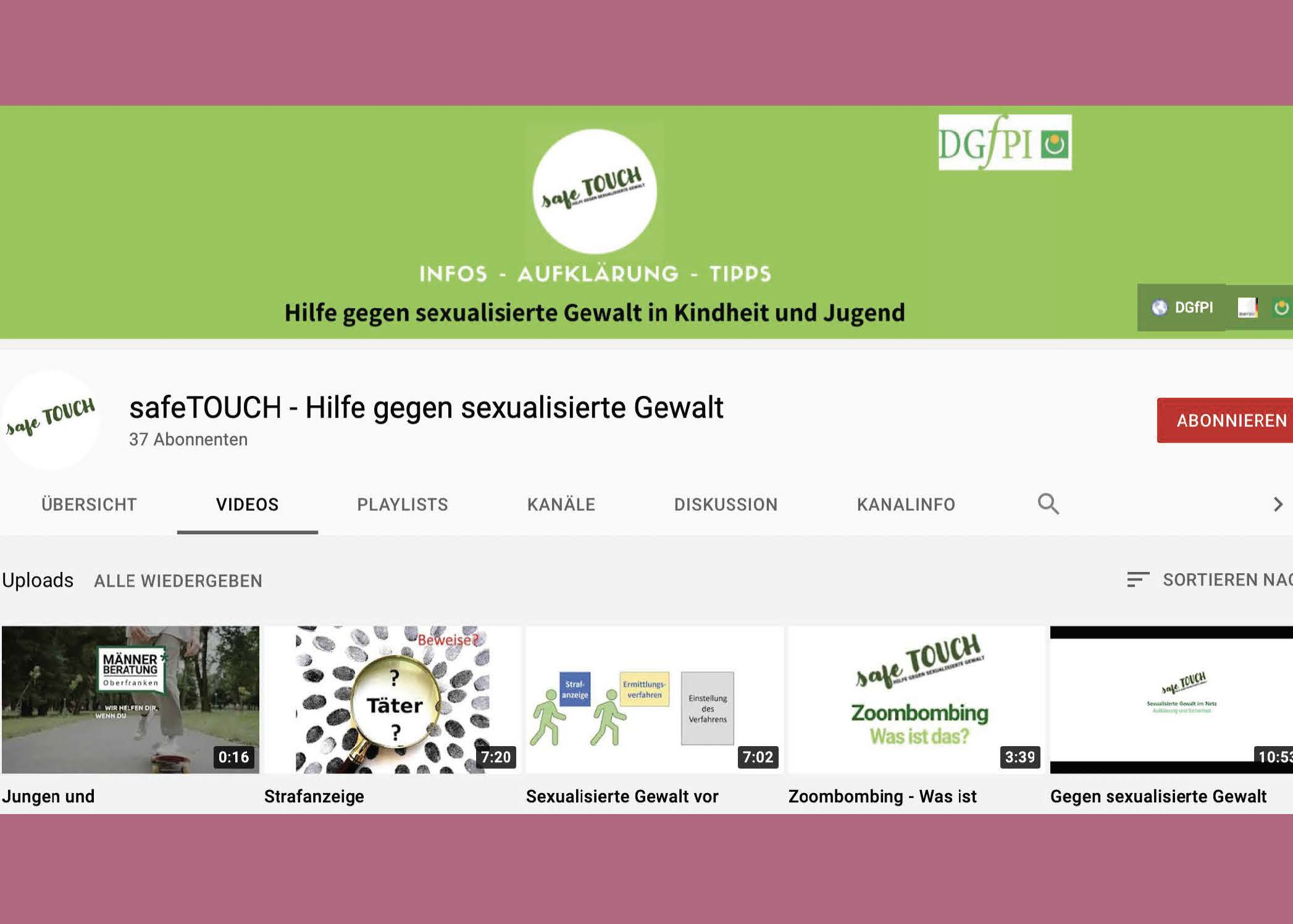 Bildauschnitt von der Startseite safe TOUCH – Hilfe gegen sexualisierte Gewalt